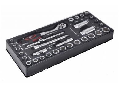 Padėklas į įrankių spintelę, terkšlė 3/8'', antgaliai, priedai