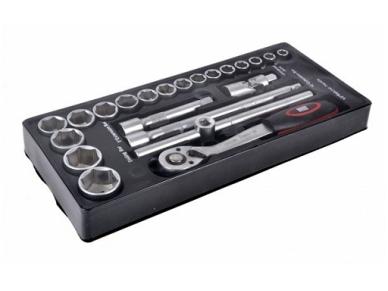 Padėklas į įrankių spintelę, terkšlė 1/2'', antgaliai, priedai
