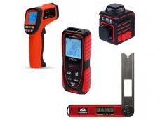 Nivelyrai + matavimo įrankiai + detektoriai