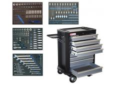 Įrankių spintelė su 7 stalčiais, 293 įrankiai
