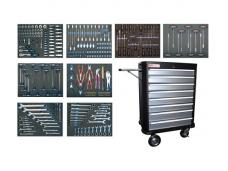 Įrankių spintelė su 8 stalčiais, 296 įrankiai