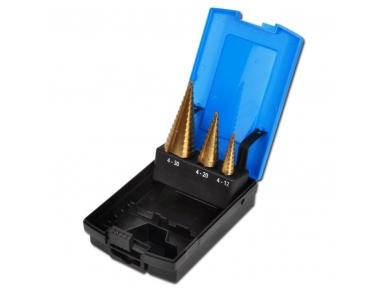 Pakopiniai grąžtai skylės (pa)platinimui 4-30 mm, 3vnt.