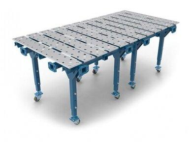 Dvigubas modulinis suvirinimo stalas, storis 15 mm, skylės skersmuo 28 mm