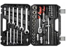 """Galvučių, raktų ir įrankių rinkinys 1/2"""" + 1/4"""", 82 vnt."""