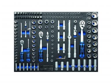 """Galvučių ir raktų rinkinys 1/4""""+3/8""""+1/2"""", 192vnt., su padėklu į spintelę"""