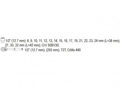 """Galvučių rinkinys su terkšle 1/2"""", 19 vnt. 2"""