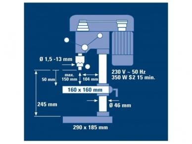 Gręžimo staklės Einhell BT-BD 401, 13mm, 350W 7