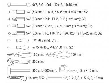 Įrankių rinkinys 44 vnt. 4