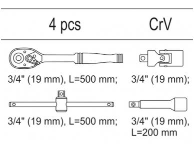 """Įrankių rinkinys į vežimėlius, 3/4"""" galvutėms 2"""