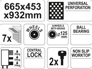 Įrankių spintelė su ratukais, 7 stalčiai 4