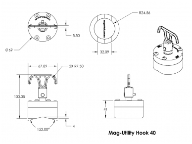 Magnetinis kablys Mag-Utility Hook 8