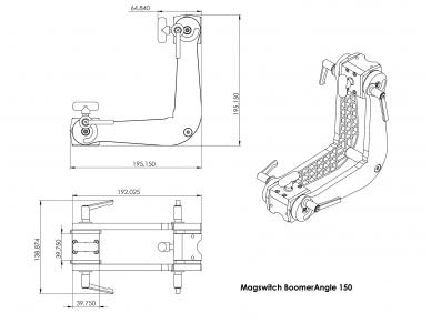 Magnetinis kampas Boomer Angle, reguliuojamas 8