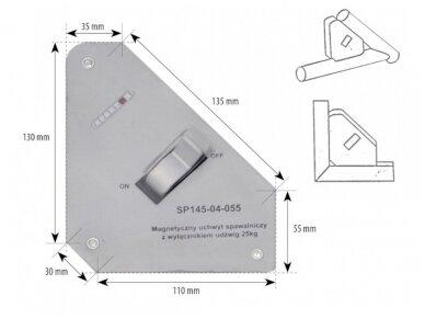 Spartus suvirinimo magnetas su išjungimu, apkrova 25kg
