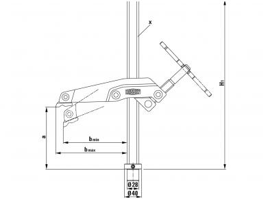 Suvirinimo stalo spaustuvas Bessey TW28GRS su aprėpimu 3