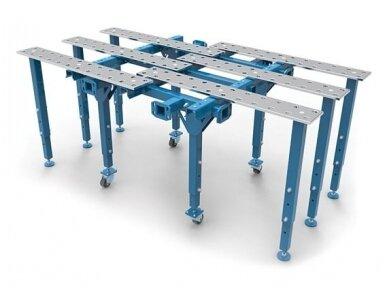 Viengubas modulinis išskleidžiamas suvirinimo stalas, storis 15 mm, skylės skersmuo 28 mm